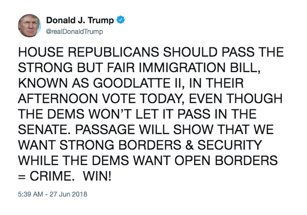 HOUSE REPUBLICANS SHOULD PASS THE STRONG BUT FAIR IMMIGRATION BILL, KNOWN AS GOODLATTE II, IN THEIR AFTERNOON VOTE TODAY, EVEN THOUGH THE DEMS WON'T LET IT PASS IN THE SENATE. PASSAGE WILL SHOW THAT WE WANT STRONG BORDERS & SECURITY WHILE THE DEMS WANT OPEN BORDERS = CRIME. WIN!