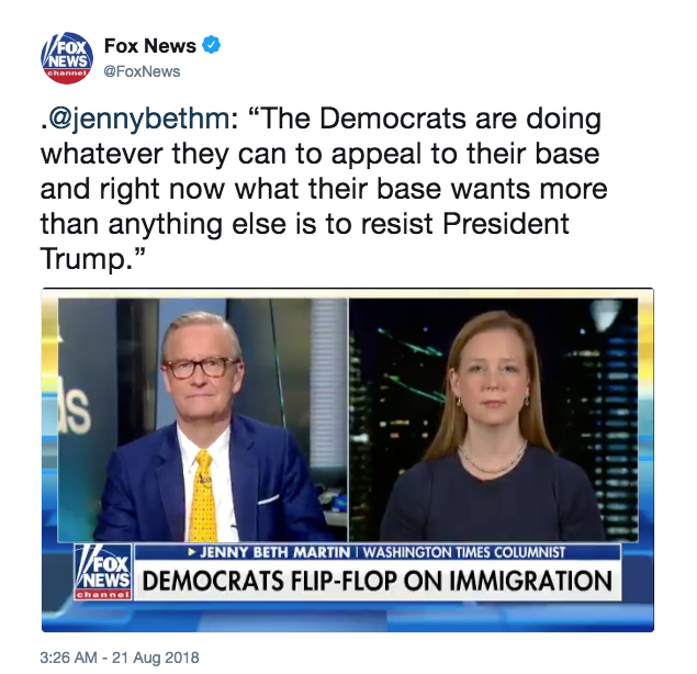 """.@jennybethm: """"The Democrats are doing whatever they can to appeal to their base and right now what their base wants more than anything else is to resist President Trump."""""""