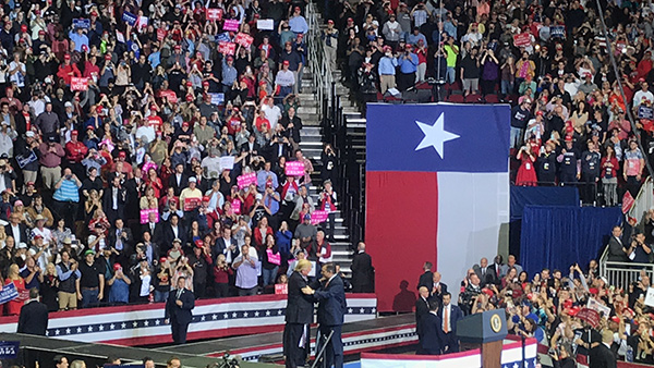 President Donald Trump and Sen. Ted Cruz on stage after Cruz introduced Trump